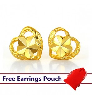 24k Emas Korea Gold Heart Earrings