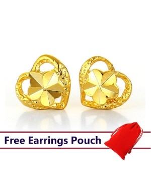 24k Emas Korea Gold Heart Earrings