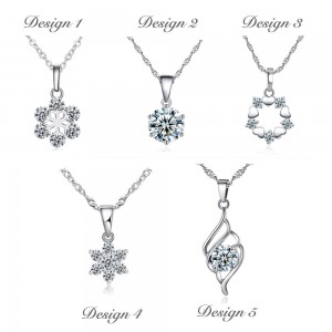 Zirconia Diamond Pendant and Silver Plated Necklace Set [Free Gift Box]