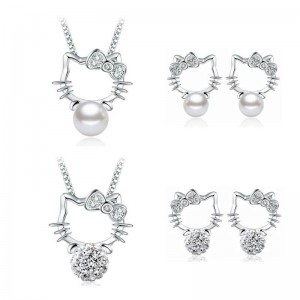 Kitty Design White Gold Plated Necklace and Earring Set