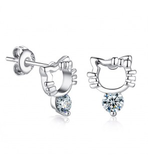 Silver Plated Kitty Earrings with Zirconia Diamond [Free Box]