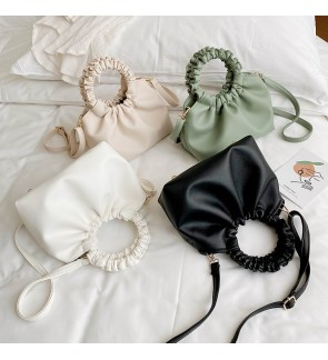 TonyaMall Round Handle Leather Sling Bag