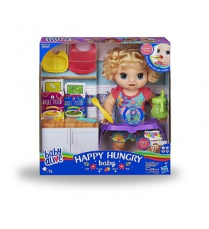 Hasbro Baby Alive Happy Hungry Baby Blonde Curly Hair Nurture Doll