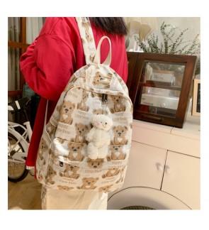 TonyaMall Vintage Bear School Bag Backpack