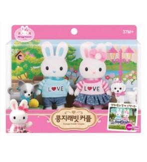 Original Korea Konggi Rabbit Couple Sets With Cute Puppies Accessories