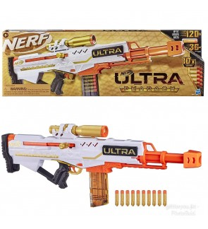 NERF Ultra Pharaoh Blaster with Premium Gold Accents 10-Dart Clip, 10 Ultra Darts, Bolt Action
