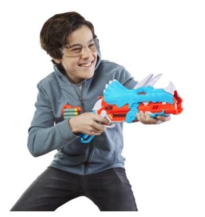 Hasbro NERF DinoSquad Tricera-Blast Dart Blaster, Break-Open 3-Dart Loading