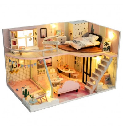 Premium DIY Dollhouse with LED Miniature Mini Wooden Furniture Kit With Free Tools